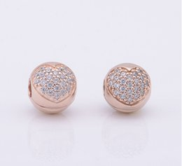 Wholesale Silver Plated Stoppers - european 1:1 original 925 sterling silver rose gold plated stopper charm bead fits pandora bracelet beads