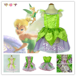 Wholesale Princess Tinker - Retail Fashion Girls TinkerBell Fairy Girl Mascot Costume tinker bell Dress Fairytale Tinker Bell Princess dress Costume Cosplay Show GD04