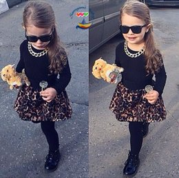Wholesale Girls Culottes Spring Autumn - Girls 2 pcs Sets 2015 New black long sleeve T shirts + leopard culottes Baby Girls Suits children clothing C001