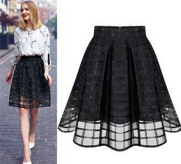 Wholesale womens tulle skirt white - New Women Long Skirt Transparent Tulle Skirts Womens High Waist Pleated Midi Skirts Organza Saia Feminino Tutu Skirt White Black