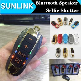 Wholesale Bluetooth Computer Remote - Car Key Shape Mini Bluetooth Speaker Wireless Portable Subwoofer Loud Stereo Speakers with FM Radio TF Slot + Remote Control Selfie Shutter