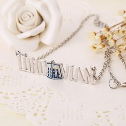 Wholesale Crystal Boxes - 2018 Doctor Who Necklace blue Polic Box pendants Movie jewelry mysterious Dr. TRADIS Necklets fashion jewelry ZJ-0903208