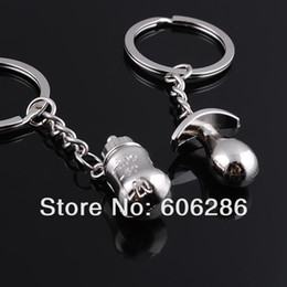 Wholesale Keychain Favors For Men - zinc alloy baby bottle keychain favors for birthday baby shower souvernirs free shipping 200pcs=100pairs lot Wholesale T