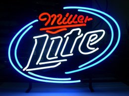 """Wholesale Public Real - New Miller Lite Light Neon Beer Sign Bar Pub Sign Real Glass Neon Light Beer Sign 17""""X14"""""""