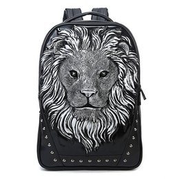 Wholesale Studded Leather Shoulder - 2015 3D Lion Studded College Backpack for Men and women Unisex Vivid Animal Print Shoulder Bag PU leather rucksack00972