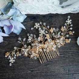 Wholesale Rhinestone Headpiece Comb - Vintage Gold Crystal Wedding Hair Accessories Comb Handmade Baroque Bridal Headpiece Jewelry