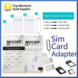 Wholesale Sim Card Trays Iphone 4s - 4 In 1 Noosy Nano Micro SIM Adapter Eject Pin For Iphone 5 For Iphone 4 4S 6 Samsung S4 S3 SIM Card Retail Box