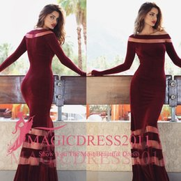 Wholesale Cross Club - Sexy Burgundy Evening Dresses 2015 Occasion Dress Mermaid Jewel Long Sleeve Velvet Pleated Formal Prom Gowns Party Celebrity Arabic Qatar