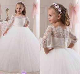 Wholesale Girl Bateau Ball Gown - 2016 Lace 3 4 Long Sleeves Pearls Tulle Flower Girl Dresses Vintage Child Pageant Dresses Beautiful Flower Girl Wedding Dresses F25
