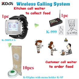 Wholesale Buzzer Call System - Wireless buzzer kitchen call waiter customer calling system with 1 keypad for cooker 1 smart watch 10 call bell with menu holder