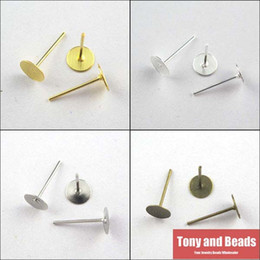 Wholesale Earring Stud Post Silver - Wholesale-(200Pcs=1Lot!) Jewelry Earring Finding Flat Round Blank Peg&Post Ear Studs Head Pins Earring Gold,Silver,Bronze,Dull Silver