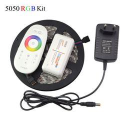 Wholesale 12v 3a 36w - Wholesale-1Set 5m 300Leds 5050 RGB Led Strip LED Tape Ribbon Lighting + RF Touch Remote + Led Strip Controller + 12V 3A 36W Power Adapter