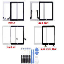 Wholesale Ipad Mini Touch Panel - For ipad Air Mini 2 Touch Screen Glass Panel with Digitizer for iPad 2 3 4 Black and White with Tools