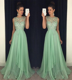 Wholesale Long Purple Sparkly Homecoming Dress - Sparkly Beads Crystal Chiffon A line Long Prom Dresses 2017 Sheer Neck Backless Sexy Mint Green Girls Homecoming Evening Gown