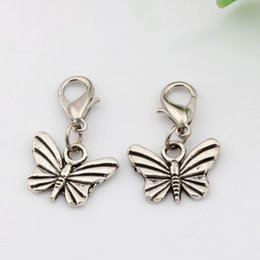 Wholesale Bead 26mm - Hot ! 100Pcs Antique Silver Alloy Butterfly Charms Charms Bead with Lobster clasp Fit Charm Bracelet 16 x 26mm DIY Jewelry