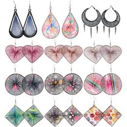 Wholesale 14k Gold Heart Earrings - Thread Earrings Mix 41 Styles Sector Water Drop Circle Love Heart Rhombus Wholesale Lots Cute Dangle Handcraft Women Girl Eardrop (JT015)