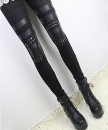 Wholesale Leather Patch Leggings - Hot Women Black Rivet Leather Stitching Cotton Slim Ladies Knee Patches Leggings #68802