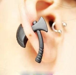 Wholesale Wholesale Ear Dragon - Alloy stereoscopic Dragon Dinosaur piercing earrings stud Ear Clip statement jewelry for women men punk axe stud jewelry