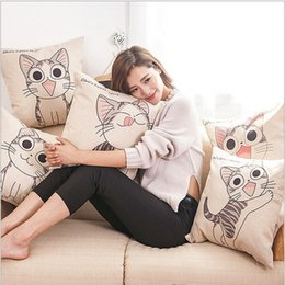 Wholesale Kitty Car Seat Covers - 45cm*45cm Cat Meow Square Cotton Linen Cushion Cover Sofa Decorative Throw Pillow Covers Cartoon Hello Kitty Home Chair Car Seat Pillow Case