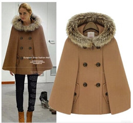 Wholesale thick warm poncho coats - Wholesale-women coat winter 2015 vintage warm thick 3-color loose cape fur collar wool poncho jacket cloak shawl hooded coat trench