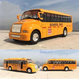 Wholesale Toy Buses For Kids - 13.5x4CM Can Open Door Pull Back Wheel Force Flashing School Bus Alloy Toy Diecast Car Model Toy Gift For Kids