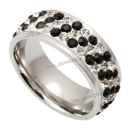 Wholesale Rings 11 Titanium - Rings 30pcs Titanium Steel Ring Wholesale lots fashion jewelry 3Row CZ Inlay Wedding Swarovski Anniversary Gift Size 7-11