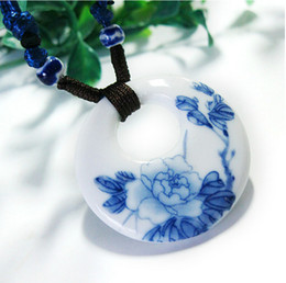 Wholesale ceramic slides - DIY Hand-woven Vintage Necklace Pendants Chinese painting Style Jingdezhen Blue And White Ceramic Necklace Lucky necklace Souvenir Gifts