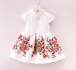 Wholesale China Tutu Skirts - 2016 new children girls dress Manufacturers supply fashion leisure printing China style skirts short sleeved dress 5 pcs for sales A022242