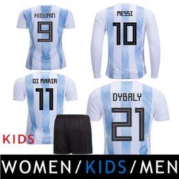 Wholesale Argentina Football Shirt Soccer - 2018 Argentina Camiseta Soccer Jerseys Kids Women MESSI AGUERO DYBALA HIGUAIN ICARDI DI MARIA Maradona Football Shirts Thailand Uniforms Kit