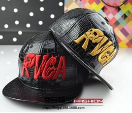 Wholesale Rvca Women - 2014 fall winter rvca letter skull hip-hop baseball cap fashion cortical falt hat casual brand leather snapback for women men