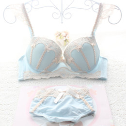Wholesale Underwire Bra Top - Vintage Cute Brand Intimates Top Quality Japanese Sexy Young Girls Lace Bra Set Push Up Bra And Panty Set With Bowknot BC Cup