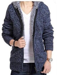 Wholesale Thick Hooded Cardigan Sweater - 2017 Men Cardigan Sweater Winter Thick Velvet Cotton Hooded Fur Jacket Men Padded Knitted Casual Zipper Wool Sweaters Plus Size Men Clothing