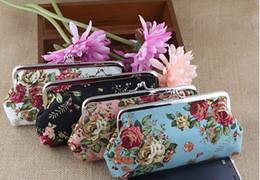 Wholesale Handbag Rose Women Wholesale - Vintage Rose Flower Coin Purse Long Size 18x9.5CM Big Canvas Wallet With Iron Button Rose Wallet Hasp Clutch Handbag Money Bag