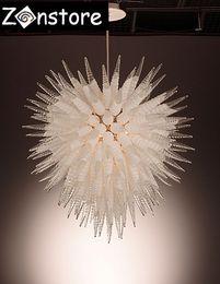 Candelabros de pipa online-Modern Ball Chandelier- Ceiling Decor Corn Glass Pipes Clear Crystal Chandeliers Fuente de luz LED 100% Hand Blown Glass Chandelier