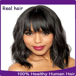Wholesale Wig Tyra Remy Hair - African American Short Full Lace Wigs Baby Hair   Lace Front Wigs Natural Wave Brazilian Virgin Remy Human Hair Wig For Black Women