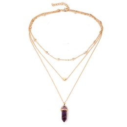 Wholesale Wrap Necklaces - 6 Colors Wrap Multilayer Chain Hexagonal Yoga Natural Stone Necklace Gold Heart Pendants Women Fashion Jewelry Christmas Gift Drop Shipping