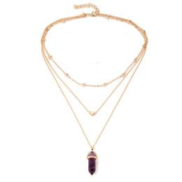 6 colori avvolgere catena multistrato yoga esagonale collana di pietra naturale oro cuore pendenti donne gioielli moda regalo di natale trasporto di goccia da
