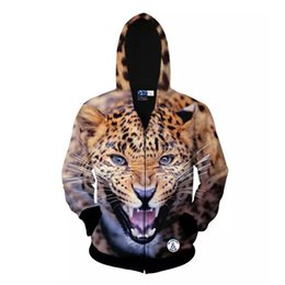 Wholesale Leopard Hooded S - 3d Animal The leopard Pattern Zipper Hooded Casual Sweatshirt Sport Suit Men's Tops Personalized Sportswear Hoodies Casual Hoodie