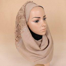 Wholesale Muslim Girls - Lace diamond scarf Soft Cotton hijab muslim Islamic bandana Luxury brand black shawls 200*70cm