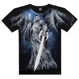 Wholesale Leader T Shirt - 3D Skull Short Sleeves T-Shirt For Men 100% Cotton 3D Print Skeleton Sword Battle Leader Personality Casual Short Sleeves Tshirt HJC3DTX053