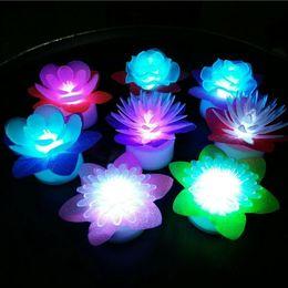 Wholesale Wax Flowers Wedding - Romantic Color Changing LED Rose Flower Candle Night Light Wedding Party Decoration 600pcs lot CCA8265 600pcs