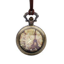 Wholesale Vintage Nacklace - SPEIKO Vintage Nacklace Watches Pocket Watches flipping-type pocket watches with the design of the Eiffel Tower for birthday gift