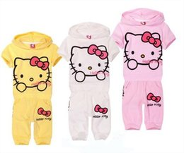 Wholesale Girls Kitty Suit - New Casual Round Collar Kids Summer Sweet Girl Short Sleeve Cartoon Printing Hello Kitty and Polk Dots Suits Children Short Sleeve Suits