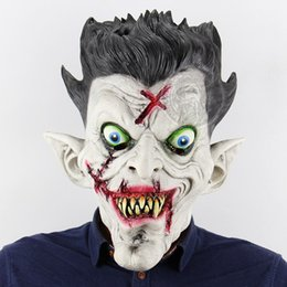 Wholesale Haunted House Masks - High quality Terror Zombie Full Head Holder Halloween Bar Haunted House Dance Props Latex Scary Latex Mask