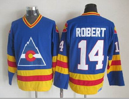 Wholesale Robert Quality - Top Quality ! Men Colorado Avalanche Ice Hockey Jerseys Cheap 14 Rene Robert Throwback Vintage CCM Authentic Stitched Jerseys Mix Order !