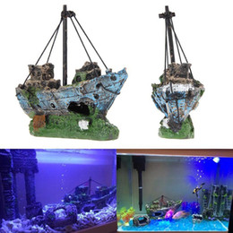Wholesale Ship Aquarium Ornaments - 11CM*5CM*13CM Resin Material Beautiful Aquarium Ornament Wreck Sailing Boat Sunk Ship Destroyer Fish Tank Aquarium Decoration