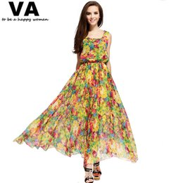 Wholesale Online Cheap Dress - Wholesale-yellow floral print dress long maxi plus size XXXL XXL XL women's summer chiffon casual cheap clothing shop online P00076