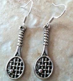 50 Paar Mode Vintage Legierung TENNIS RACQUET Charms 925 Sterling Silber Tropfen / Baumeln Ohrringe Für Mädchen Frauen Kleid JewelryP1556 von Fabrikanten