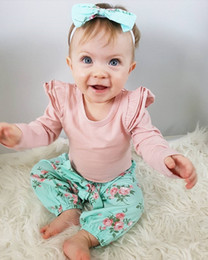 Wholesale Kids Overalls Pants - Baby Girl Clothing Set Romper Overall Fall Boutique Clothes Kids Suit Pink Shirt+Floral Pants Toddler Outfit Cute Newborn Costume