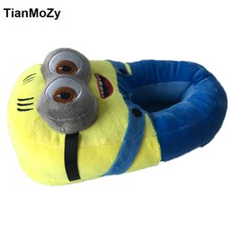 Wholesale Cute Summer Heels - unisex shoes woman winter slippers men carton despicable me minion yellow man shoes home warm slides Cute indoor floor big size